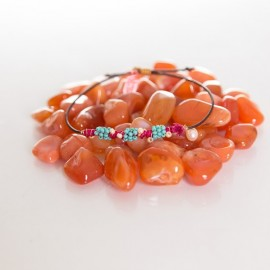 red leather string bracelet with pearl and turquoise beads