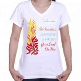 red and yellow flames on soft inspirational t-shirt