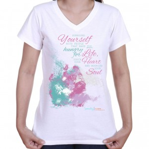 v-neck t-shirt with quote inspiring you to surround yourself with people that nurture you