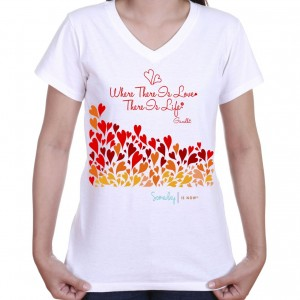 v-neck shirt filled with red hearts and quote about love